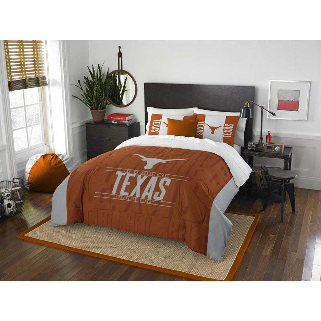NCAA Longhorns Comforter Full Queen Set Orange Grey Sports Patterned Bedding Team Logo Fan Merchandise Athletic Team Spirit Fan College Football - Diamond Home USA