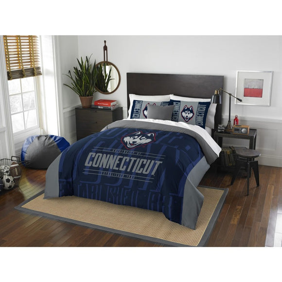 NCAA University Connecticut Huskies Comforter Full Queen Set Sports Patterned Bedding Team Logo Fan Merchandise Team Spirit College Basket Ball Themed - Diamond Home USA