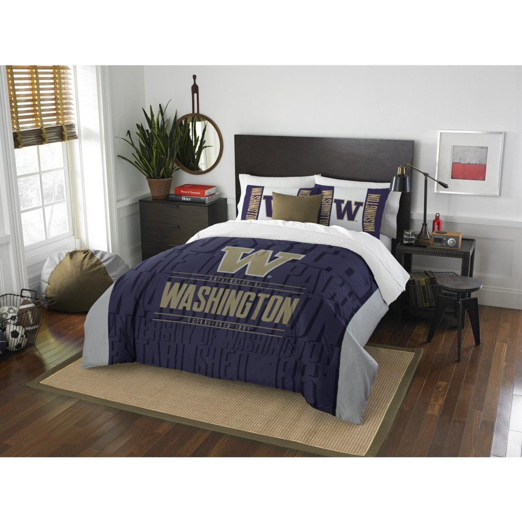 NCAA University Washington Huskies Comforter Full/Queen Set Sports Patterned Bedding Team Logo Fan Merchandise Team Spirit College Football Themed - Diamond Home USA