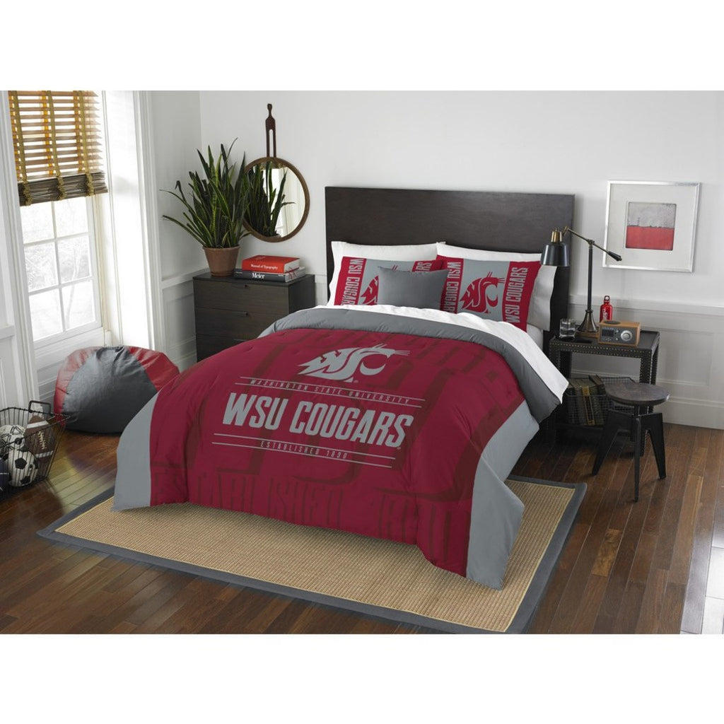 NCAA Washington State Cougars Comforter Full/Queen Set Sports Patterned Bedding Team Logo Fan Merchandise Team Spirit College Football Themed Red Grey - Diamond Home USA