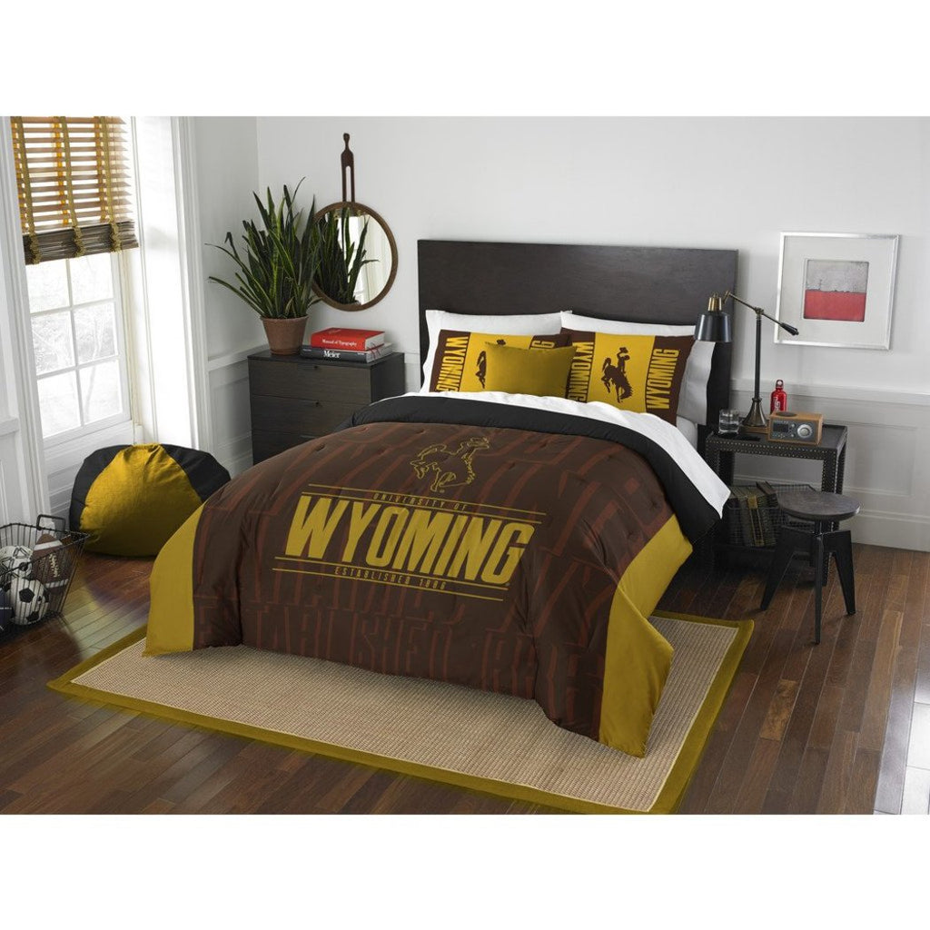 NCAA University Wyoming Cowboys Comforter Full Queen Set Sports Patterned Bedding Team Logo Fan Merchandise Team Spirit College Basket Ball Themed - Diamond Home USA