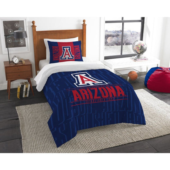NCAA University Arizona Wildcats Comforter Twin Set Sports Patterned Bedding Team Logo Fan Merchandise Team Spirit College Basket Ball Themed Blue Red - Diamond Home USA
