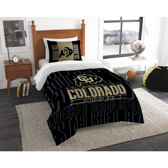 NCAA Colorado Buffaloes Comforter Twin Set Sports Patterned Bedding Team Logo Fan Merchandise Team Spirit College FootBall Themed Black Gold - Diamond Home USA