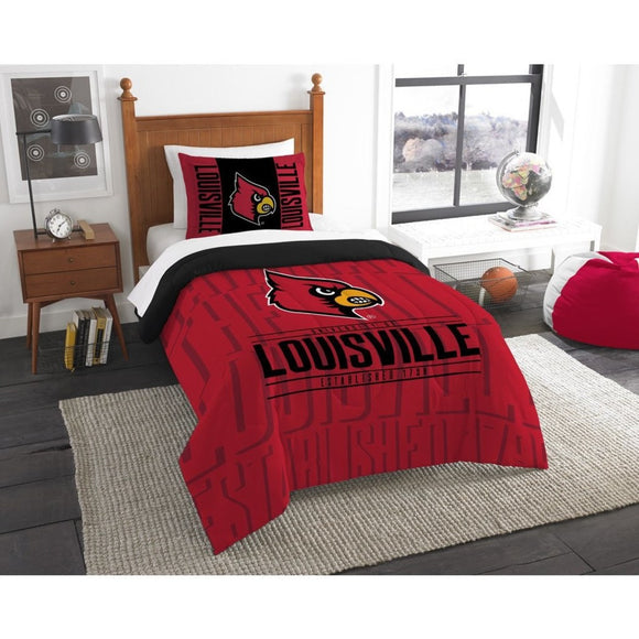 NCAA Louisville Cardinals Comforter Twin Set Sports Patterned Bedding Team Logo Fan Merchandise Team Spirit College FootBall Themed Black Red - Diamond Home USA