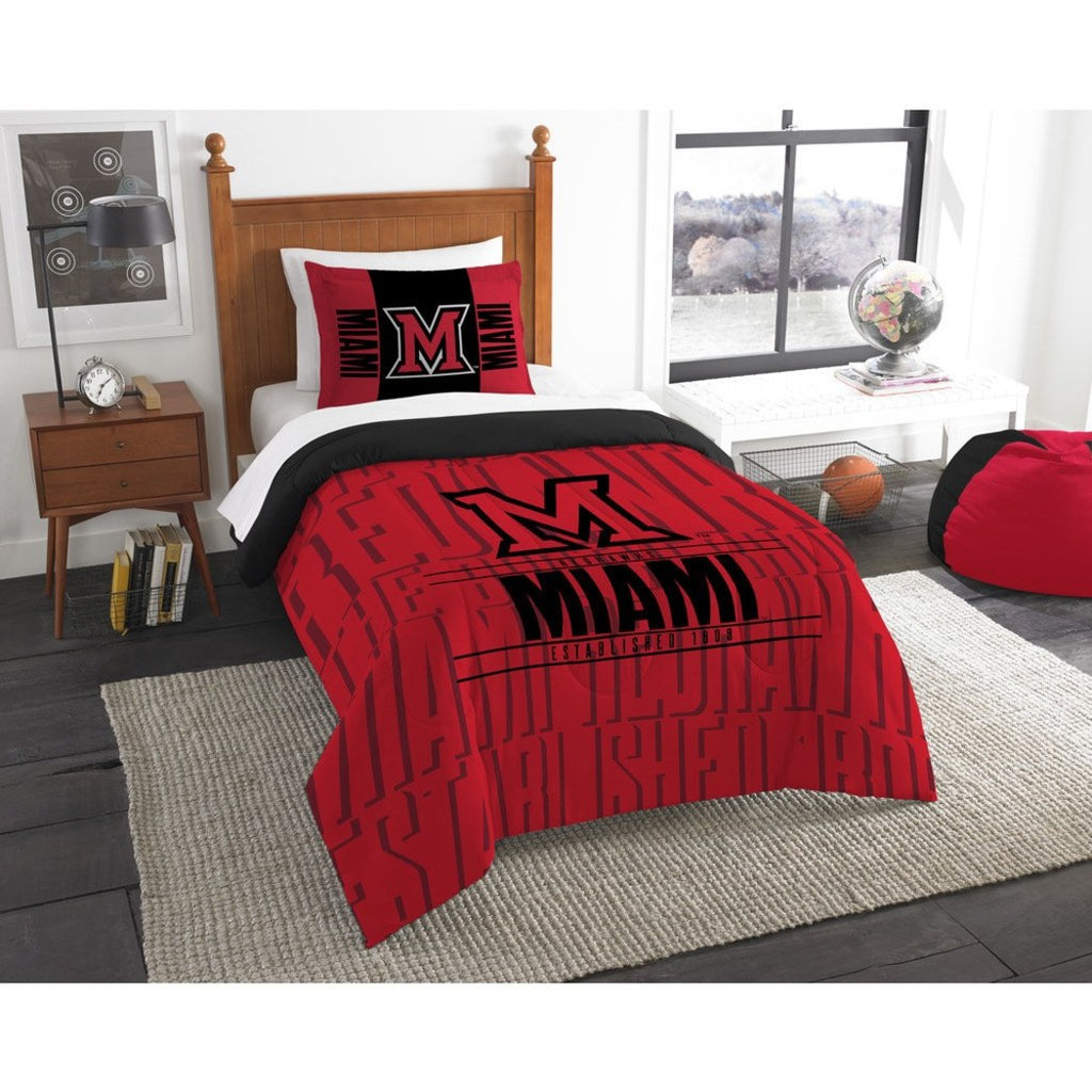 NCAA Miami RedHawks Comforter Twin Set Sports Patterned Bedding Team Logo Fan Merchandise Team Spirit College Basket Ball Themed Black Red Unisex - Diamond Home USA