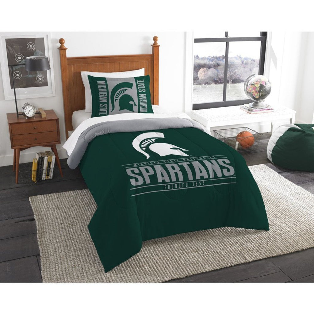 NCAA Michigan State Spartans Comforter Twin Set Sports Patterned Bedding Team Logo Fan Merchandise Team Spirit College Basket Ball Themed Green - Diamond Home USA