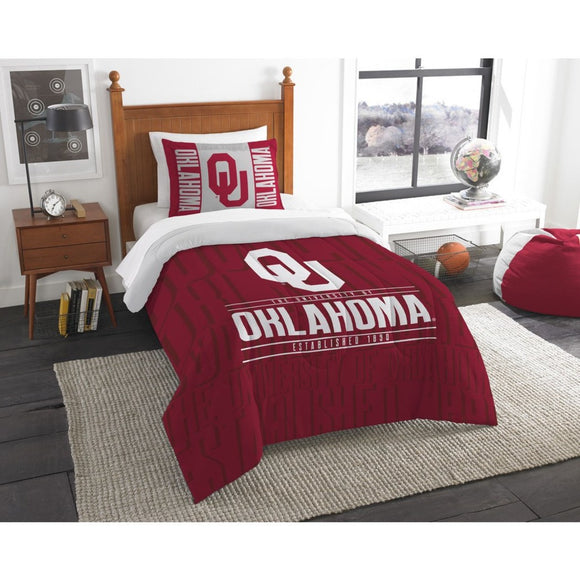 NCAA University Oklahoma Sooners Comforter Twin Set Sports Patterned Bedding Team Logo Fan Merchandise Team Spirit College Football Themed Red White - Diamond Home USA