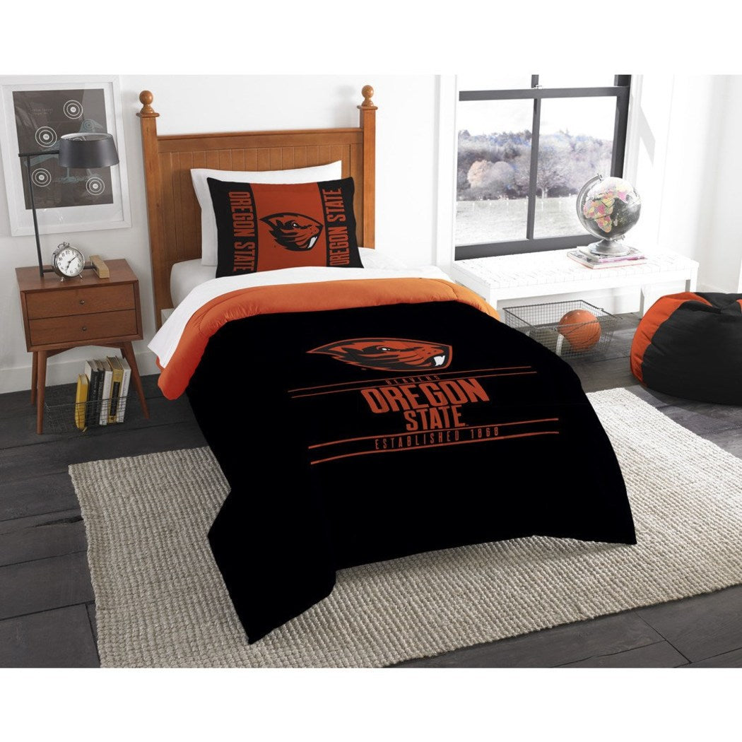 NCAA Oregon State Beavers Comforter Twin Set Sports Patterned Bedding Team Logo Fan Merchandise Team Spirit College Foot Ball Themed Orange Black - Diamond Home USA