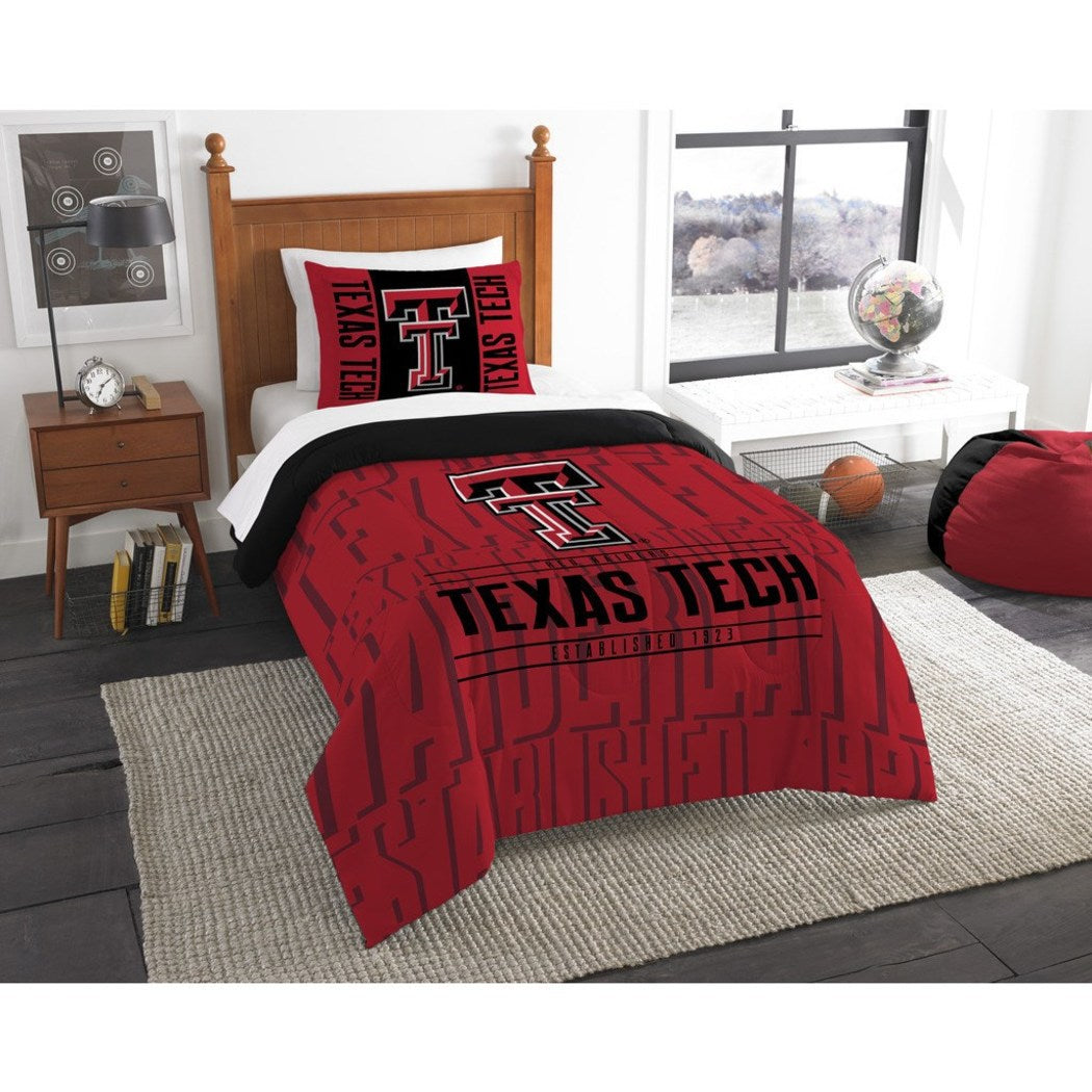 NCAA Texas Tech Red Raiders Comforter Twin Set Sports Patterned Bedding Team Logo Fan Merchandise Team Spirit College Football Themed Red Black - Diamond Home USA