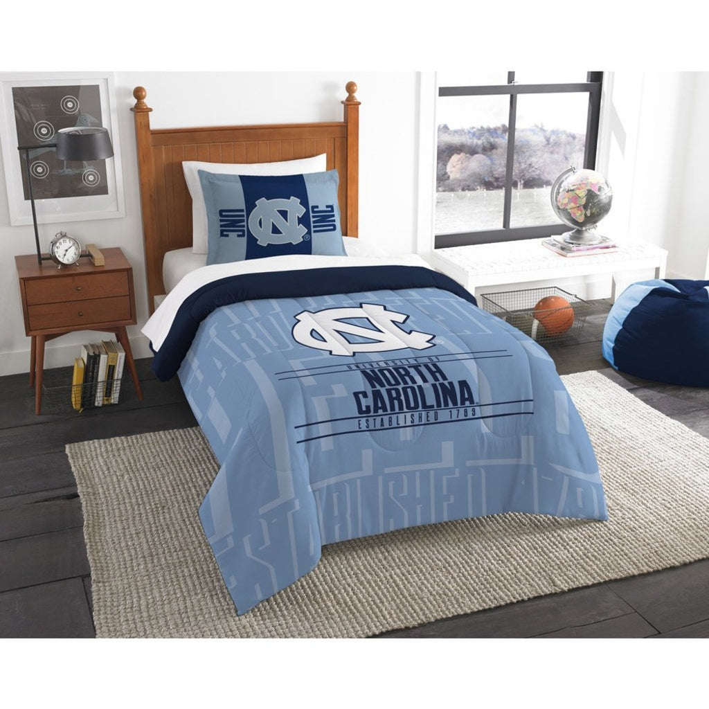 NCAA North Carolina Tar Heels Comforter Twin Set Sports Patterned Bedding Team Logo Fan Merchandise Team Spirit College Football Themed Blue - Diamond Home USA