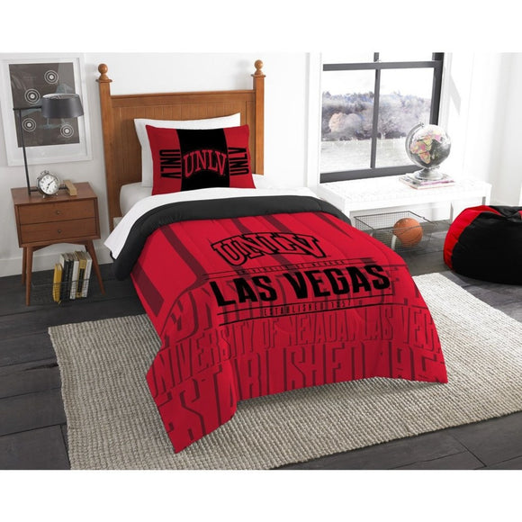 NCAA University Nevada Las Vegas Comforter Twin Set Sports Patterned Bedding Team Logo Fan Merchandise Team Spirit College Basket Ball Themed Red - Diamond Home USA