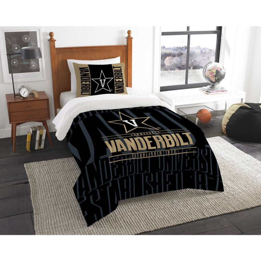 NCAA Vanderbilt Commodores Comforter Twin Set Sports Patterned Bedding Team Logo Fan Merchandise Team Spirit College Basket Ball Themed Black Gold - Diamond Home USA