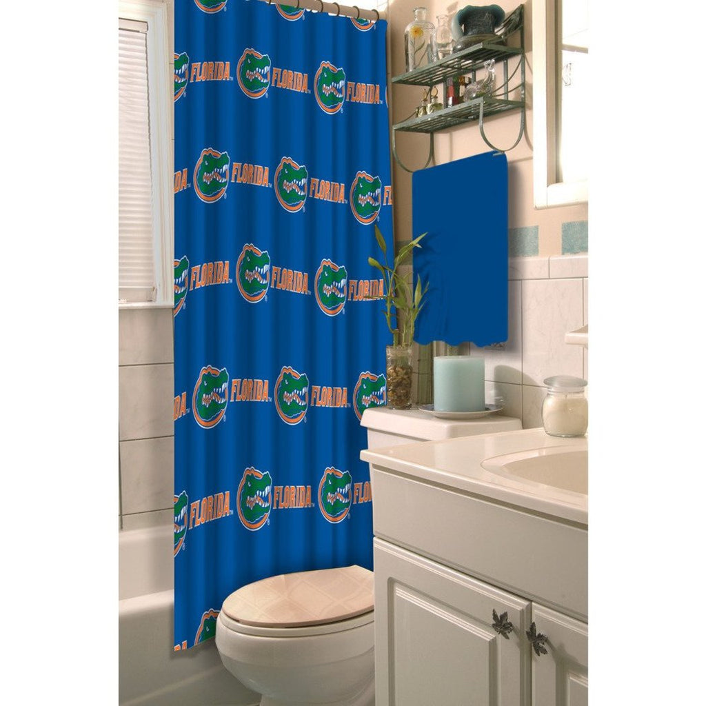 Blue Green Orange Florida Gators Football Sports Themed Shower Curtain Polyester Detailed Sports Pattern Modern Elegant Design Official Colorful Team - Diamond Home USA