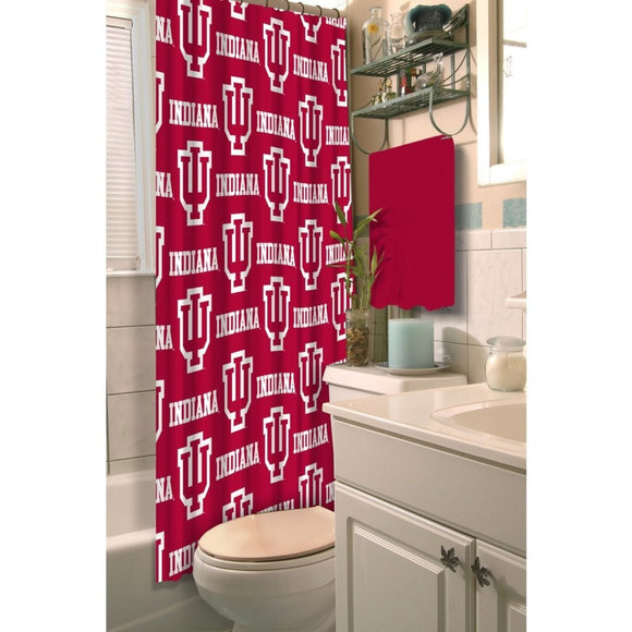 Red White Indiana Sycamores Football Sports Themed Shower Curtain Polyester Detailed Sports Pattern Modern Elegant Design Official Colorful Team Logo - Diamond Home USA