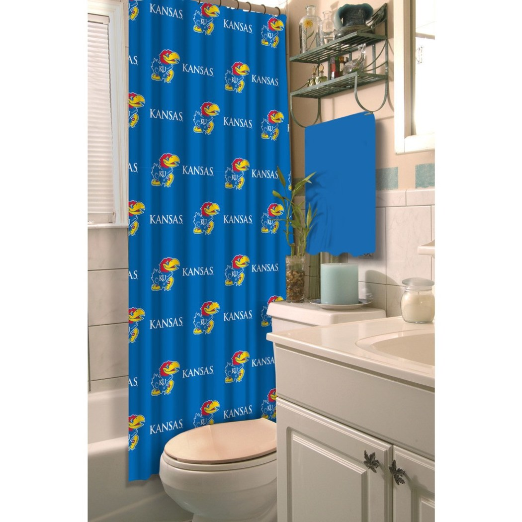Blue Red Yellow Kansas Jayhawks Football Sports Themed Shower Curtain Polyester Detailed Sports Pattern Modern Elegant Design Official Colorful Team - Diamond Home USA