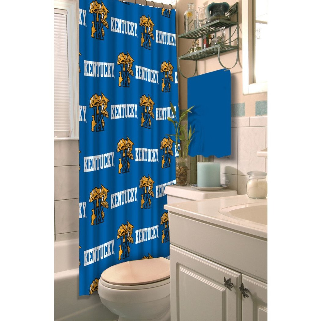 Blue White Kentucky Wildcats Football Sports Themed Shower Curtain Polyester Detailed Sports Pattern Modern Elegant Design Official Colorful Team Logo - Diamond Home USA