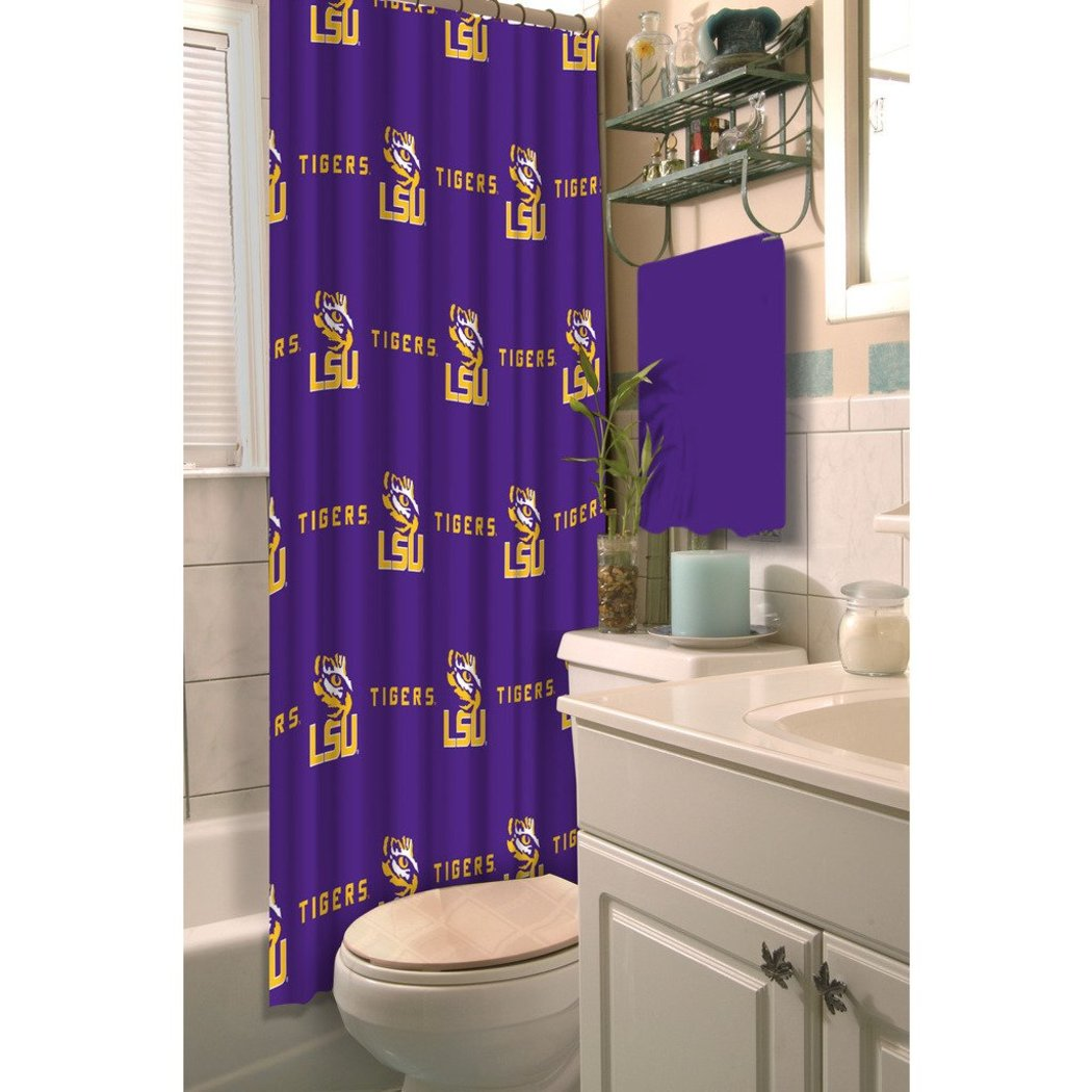 Purple Gold LSU Tigers Football Sports Themed Shower Curtain Polyester Detailed Sports Pattern Modern Elegant Design Official Colorful Team Logo - Diamond Home USA