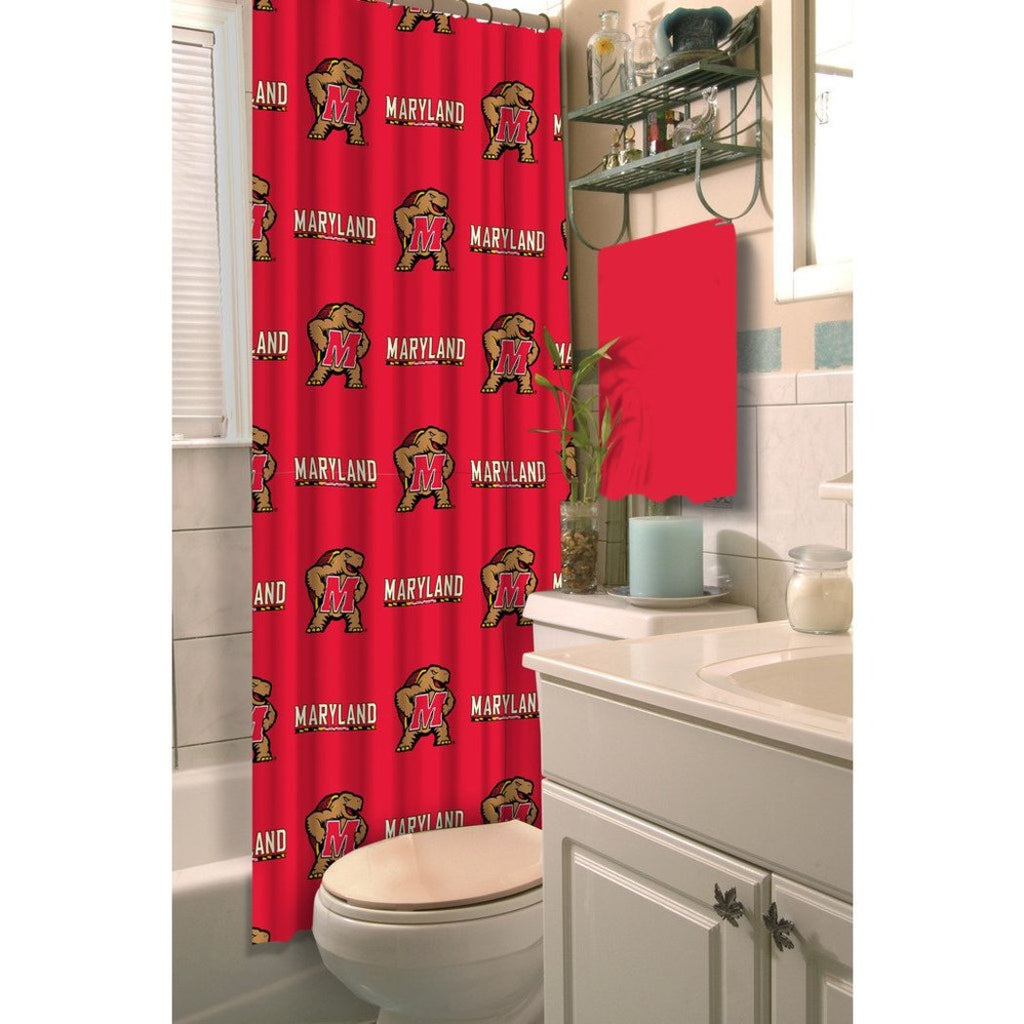Red Brown Maryland Terrapins Football Sports Themed Shower Curtain Polyester Detailed Sports Pattern Modern Elegant Design Official Colorful Team Logo - Diamond Home USA