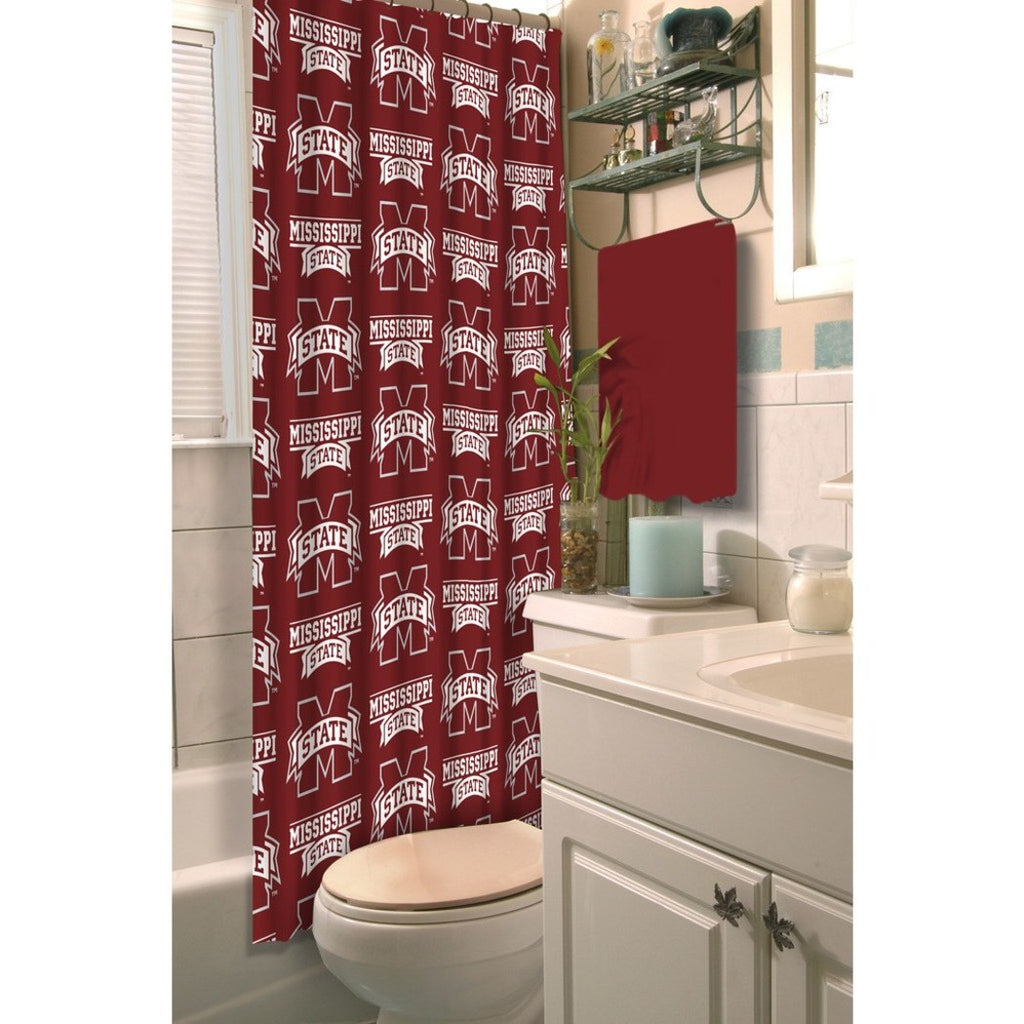 Red White Mississippi State Bulldogs Football Sports Themed Shower Curtain Polyester Detailed Sports Pattern Modern Elegant Design Official Colorful - Diamond Home USA