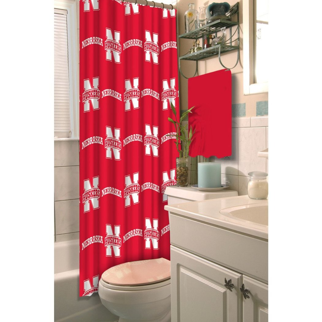 Red White Nebraska Cornhuskers Football Sports Themed Shower Curtain Polyester Detailed Pattern Modern Elegant Design