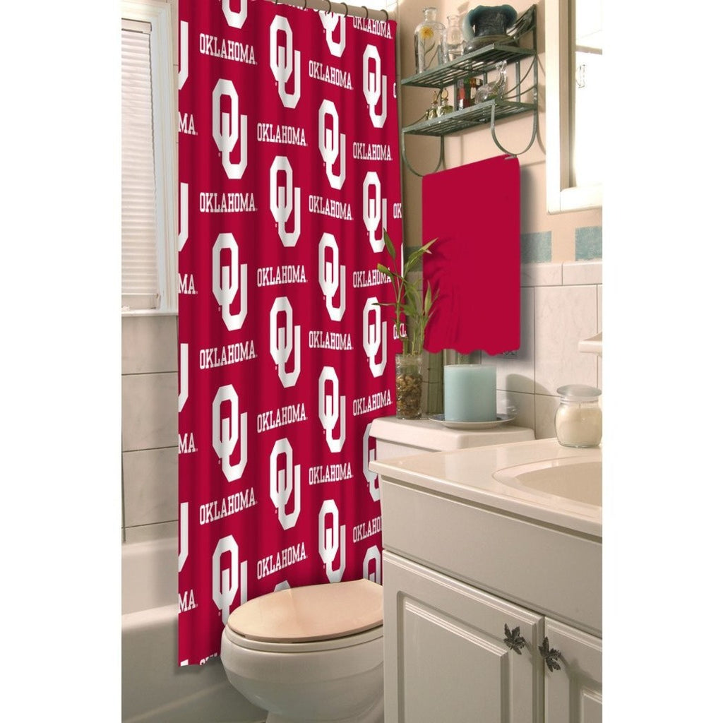Red White Oklahoma Cowboys Football Sports Themed Shower Curtain Polyester Detailed Sports Pattern Modern Elegant Design Official Colorful Team Logo - Diamond Home USA