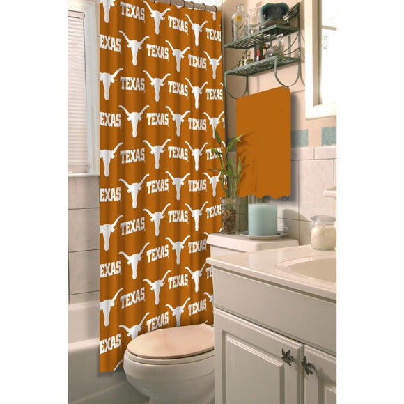 Orange White Texas Bobcats Football Sports Themed Shower Curtain Polyester Detailed Sports Pattern Modern Elegant Design Official Colorful Team Logo - Diamond Home USA