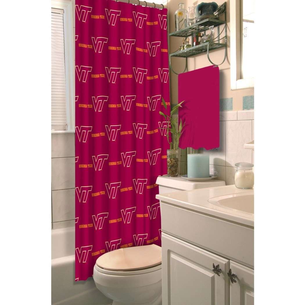 Red Orange Virginia Tech Hokies Football Sports Themed Shower Curtain Polyester Detailed Sports Pattern Modern Elegant Design Official Colorful Team - Diamond Home USA