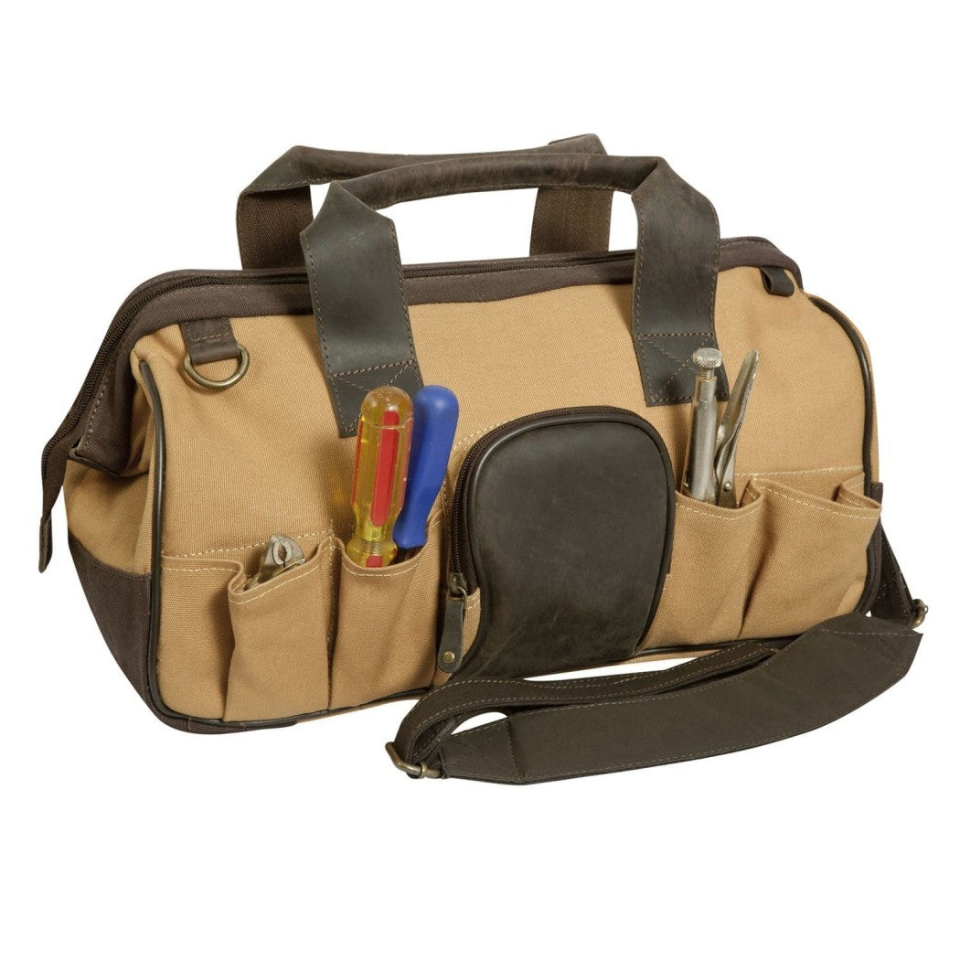 Outback Canvas Leather Open Mouth Tool Bag Contractor Briefcase - Diamond Home USA