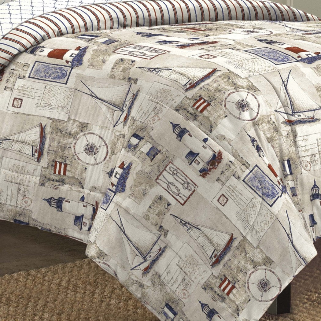 Sailor Themed Comforter Set Seaside Inspired Bedding Nautical Vintage Harbor Lighthouses Features Sail Boats Stripe Pattern Cape Cod Beach Faded