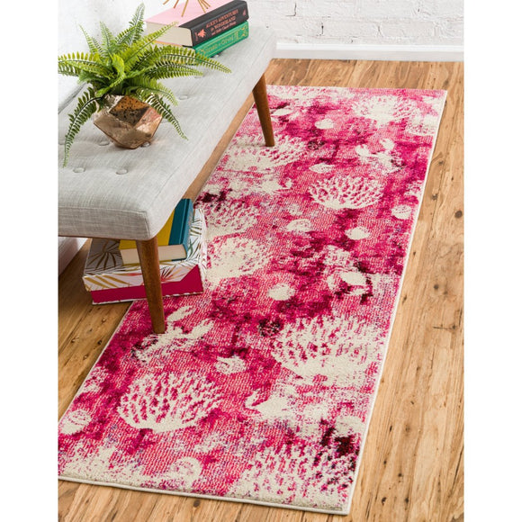 2'7 x 10' Pink Beige Beach Theme Runner Rug Rectangle Indoor Tan Red Coral Reef Pattern Hallway Carpet Geometric Motif Flower Floor Cover Coastal - Diamond Home USA