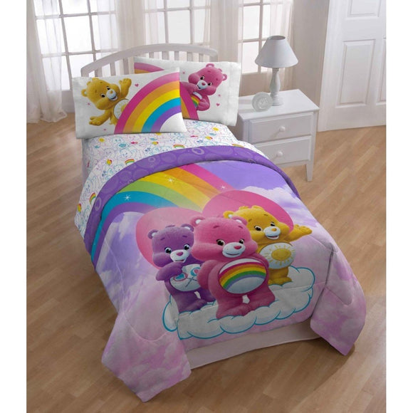 Rainbow Care Bear Theme Comforter Twin Set Cute Girly Bright Carebear Cloud Bedding Fun Color Characters Cheer Share Funshine Bears Themed Pattern - Diamond Home USA