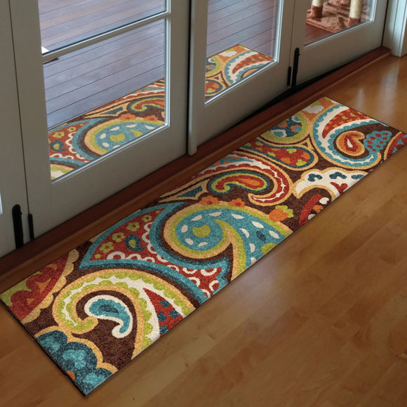 Indoor Outdoor Rainbow Floral Runner Rug Colored Flower Paisley Swirls Pattern Carpet Entrace Ways Hallway Long Flooring Stain Resistant Long Narrow - Diamond Home USA