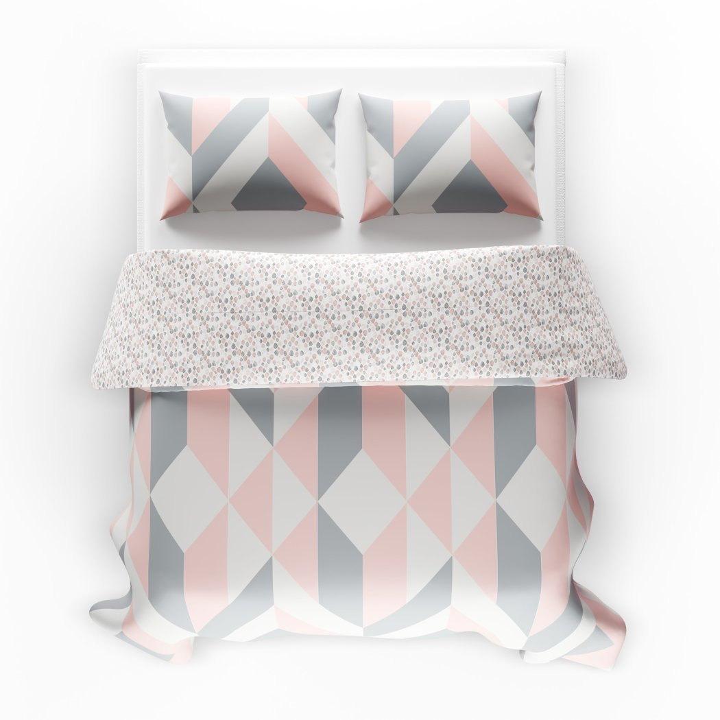 Girls Geometric Polkadot Theme Comforter Set Girly Abstract Shape Polka Dot Bedding Stylish Modern Polkadots Dots