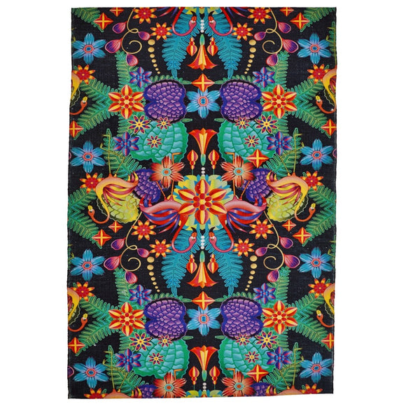 2' x 3' Black Green Blue Yellow Orange Tropical Floral Wildlife Area Rug Rectangle Indoor/Outdoor Vivid Botanical Flowers Carpet Mat Abstract Pattern - Diamond Home USA