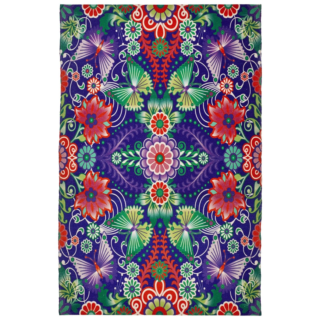 2' x 3' Purple Green Blue Red Tropical Floral Wildlife Butterfly Area Rug Rectangle Indoor/Outdoor Vivid Botanical Flowers Carpet Mat Abstract Pattern - Diamond Home USA