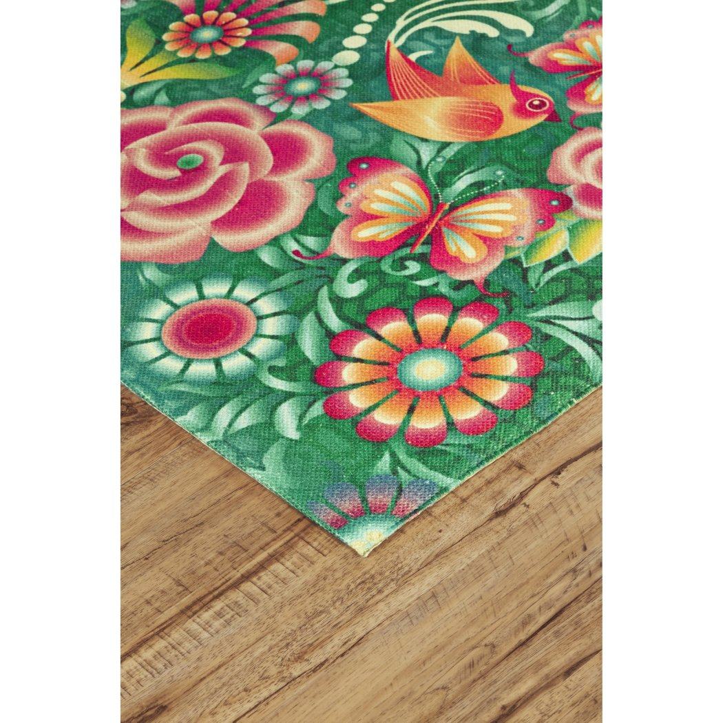 2' x 3' Green Orange Pink Tropical Floral Wildlife Area Rug Rectangle Indoor/Outdoor Vivid Botanical Flowers & Birds Carpet Mat Abstract Pattern - Diamond Home USA