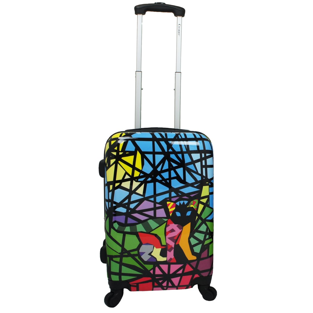 Rainbow Kitty Cat Animal Lover Hardtop Luggage Cute Adorable Stained Glass Kitten Kat Pet Themed Colorful Artistic Mosaic Art Lovers Pattern Upright - Diamond Home USA