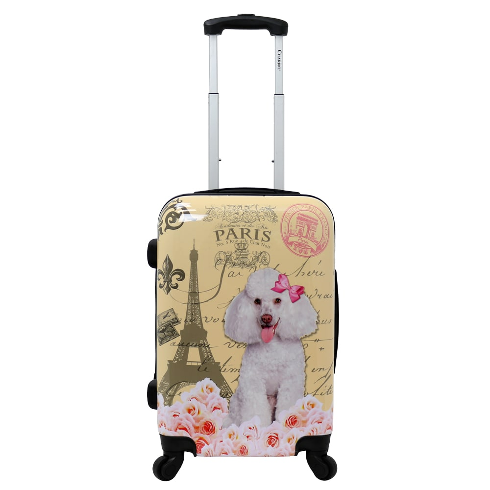 Chariot Paris Doggie 20-Inch Hardside Lightweight Upright Spinner Carry-On Suitcase Beige Animal Abs Polycarbonate Expandable Locking Rolling Lined - Diamond Home USA