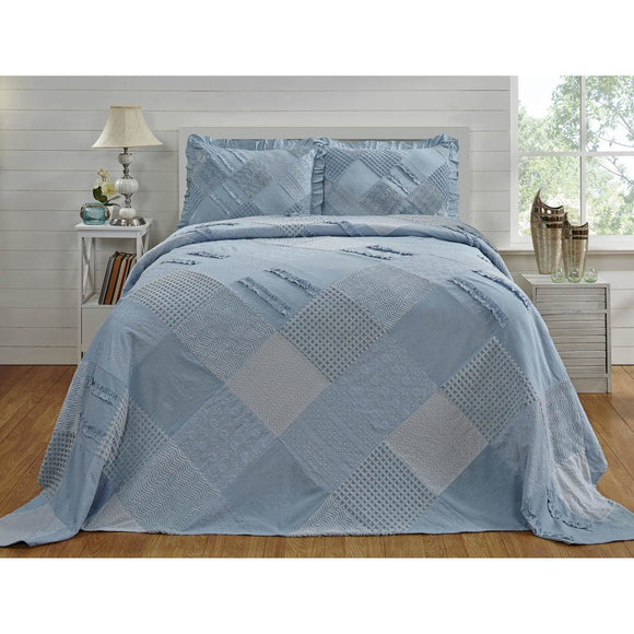 Oversized Chenille Bedspread Geometric Patchwork Plaid Extra Long Wide Bedding Drapes Over Edge Drops Down Floor Oversize Squared Trellis