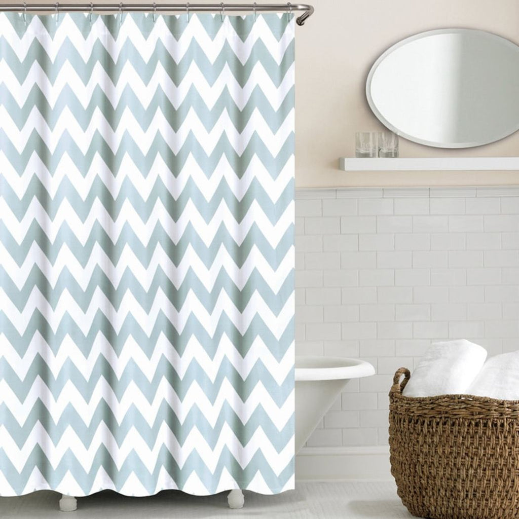 Girls Chevron Shower Curtain Off Zig Zag Pattern Bathroom Drapes Modern Classic Geometric V Shaped Cotton Polyester Stylish Chic