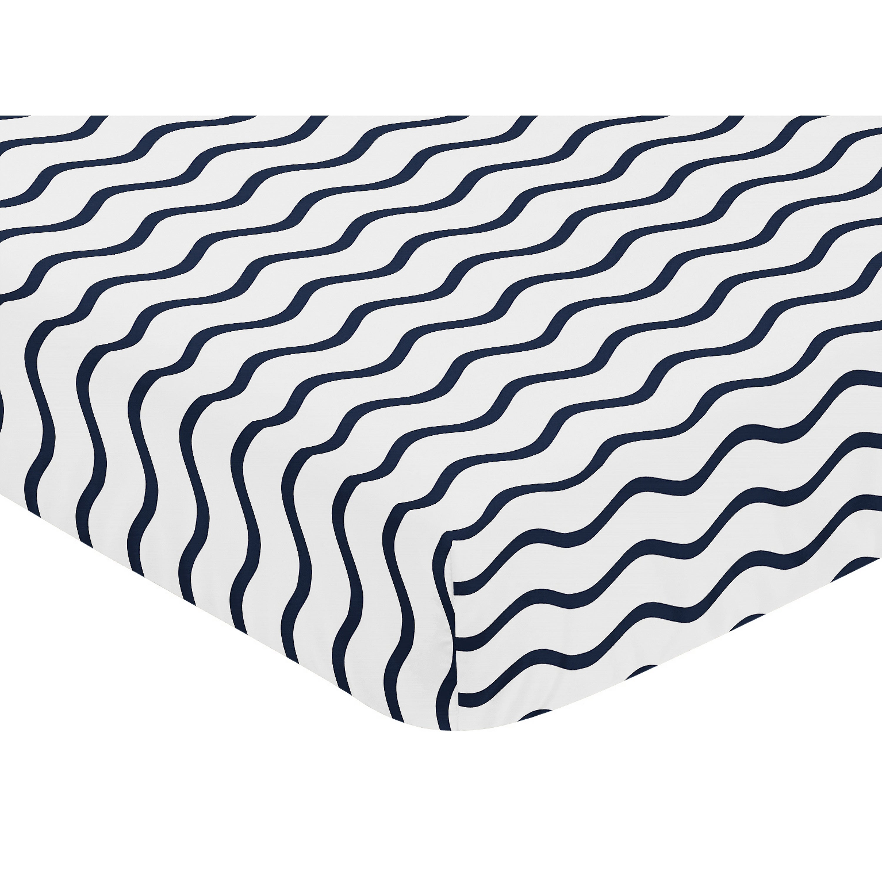 Whale Collection Chevron Wave Print Fitted Crib Sheet Multi Color Geometric Boys Baby Boy Cotton - Diamond Home USA