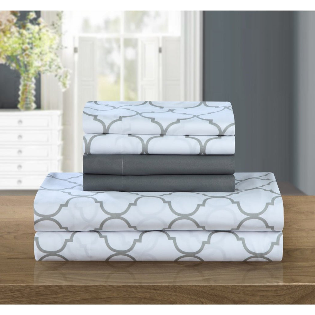 Abstract Geometric Sheets Set Luxurious Moroccan Trellis Design Bedding Modern Chic Textured Design Casual Solid