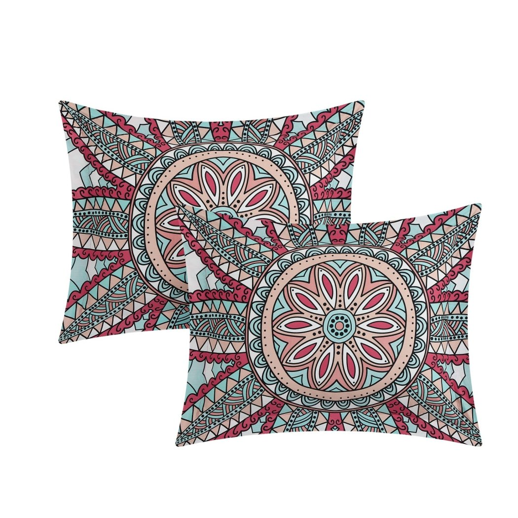 Bohemian Theme Duvet Cover Set Intricate Boho Chic Bedding Vibrant Tribal Mandala Floral Line Themed Pattern Cotton