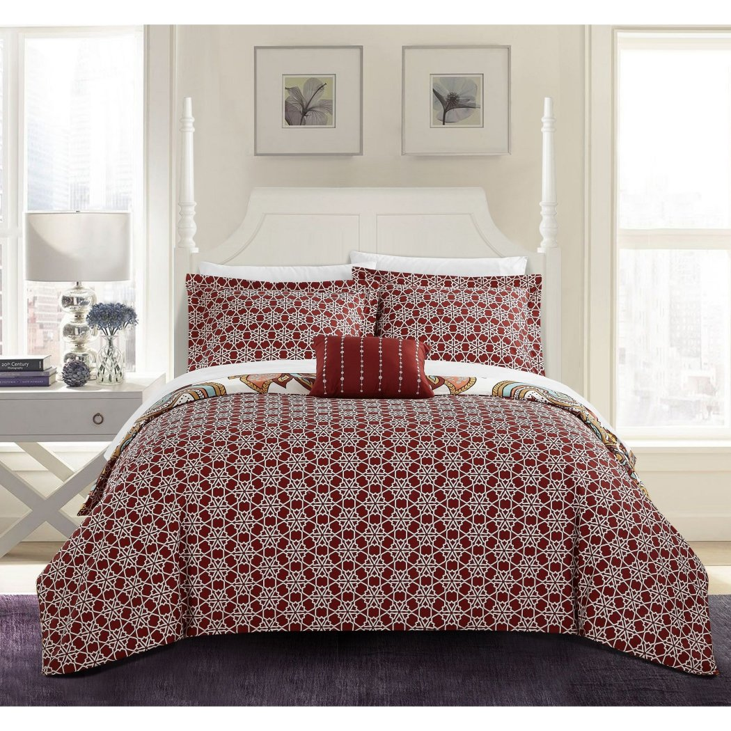 Geometric Duvet Cover Set Southwest Abstract Paisley Geometrical Damask Floral Pattern Bedding Flowers Medallion Sleek Trendy