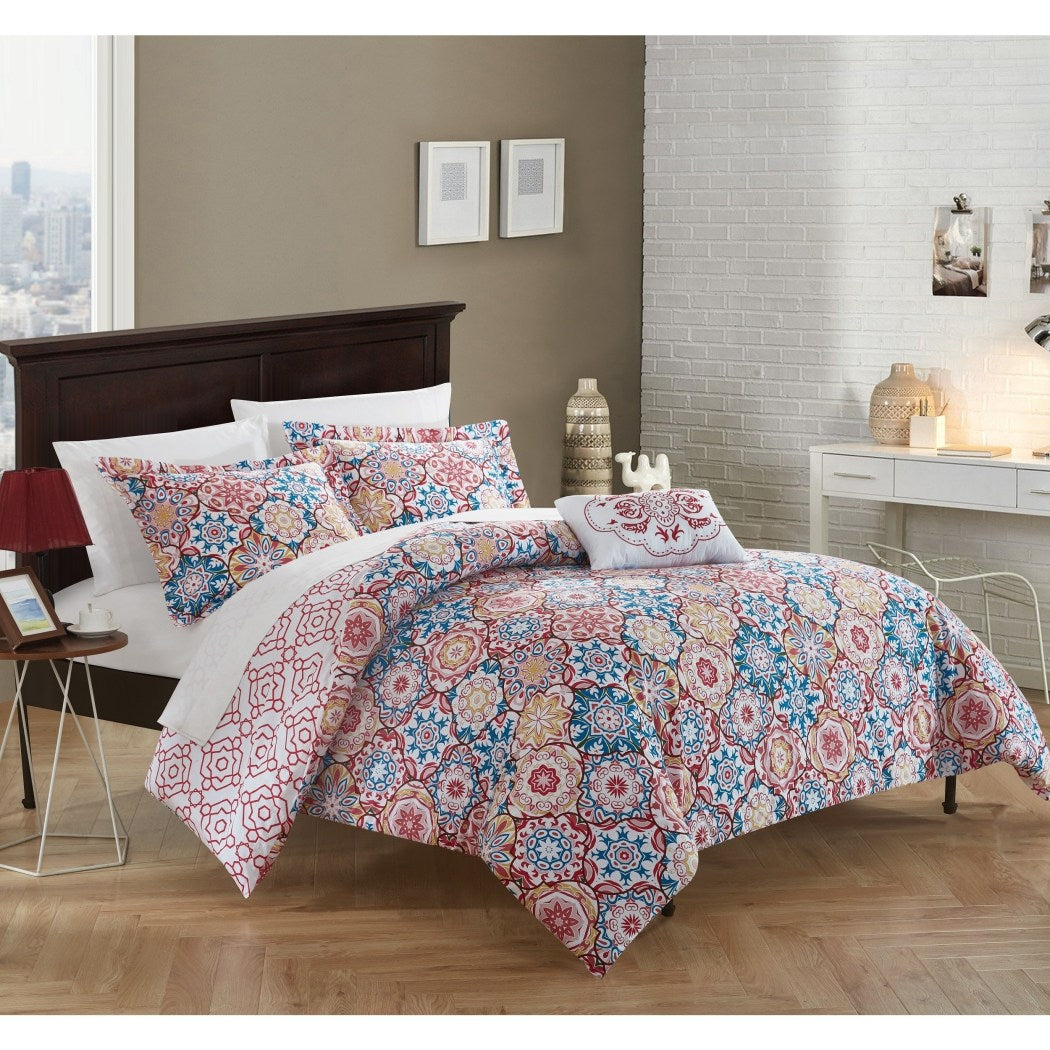 Geometric Duvet Cover Set Vibrant Southwest Bohemian Diamond Pattern Bedding Geometrical Damask Floral Flowers Medallion Modern