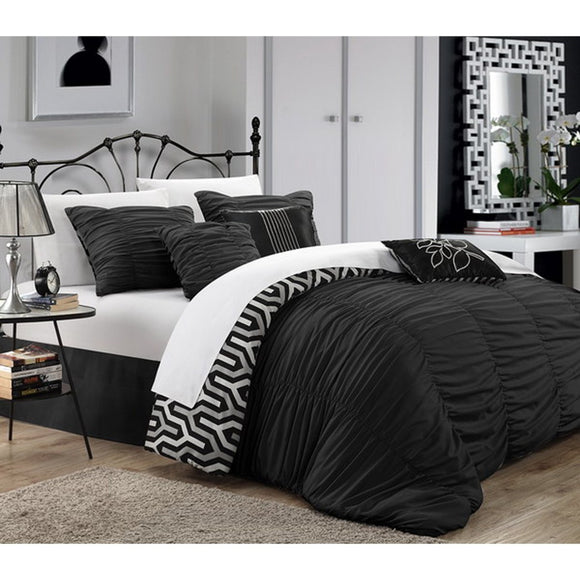 Ruched Comforter Set Stylish Luxury Bedding Modern Master Bedrooms Gorgeous Ruffled Pattern Vibrant