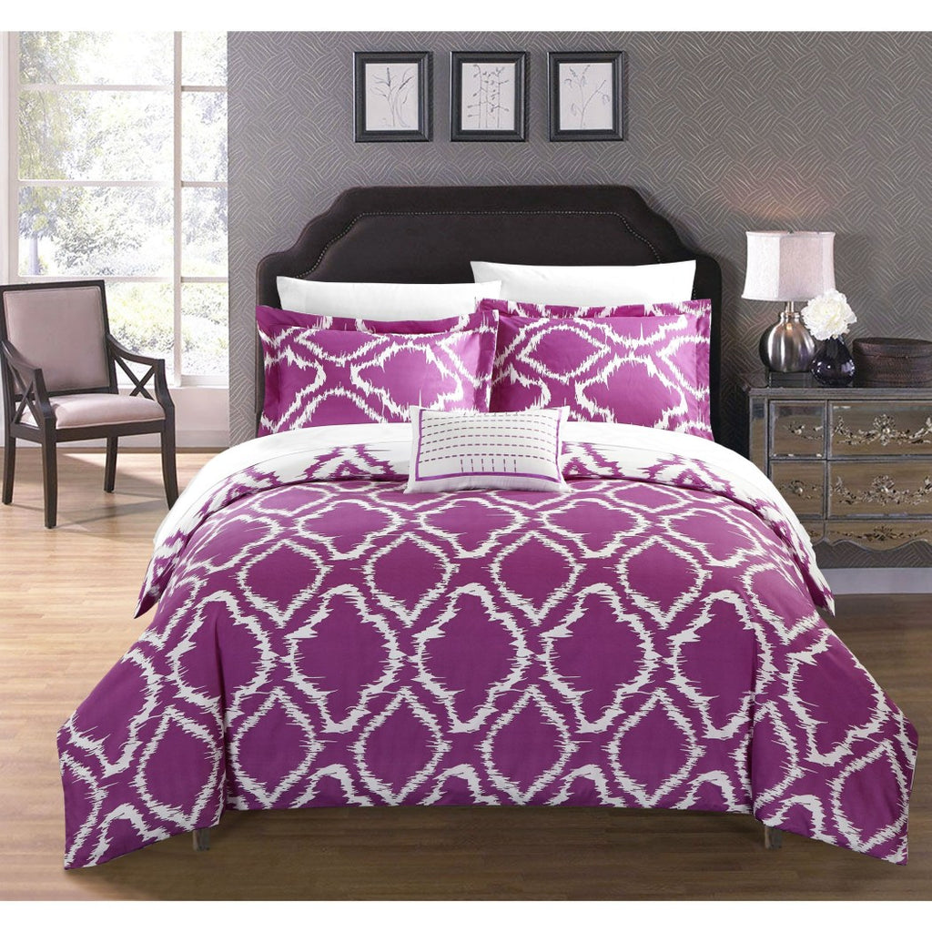 Geometric Duvet Cover Set Geometrical Ikat Jacquard Pattern Bedding Diamond Classic Contemporary Theme Textured Sleek Trendy Casual