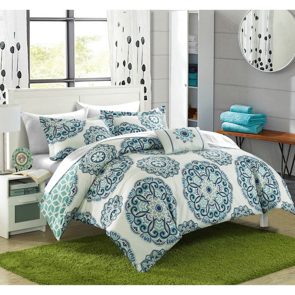 Mandala Floral Pattern Comforter Sheets Set Elegant Large Embroidered Medallion Motif Design Geometric Bedding Soft Comfy