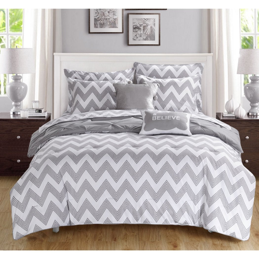 Girls Pintuck Pattern Comforter Sheets Set Elegant Stylish Pinch Pleated Pin Tuck Puckered Design Chevron Stripes Bedding Super Soft Comfy