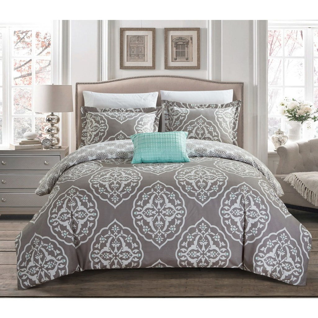 Geometric Duvet Cover Medallion Bedding Shabby Chic Trendy Geometrical Floral Pattern Oval Damask Flowers Casual Classic